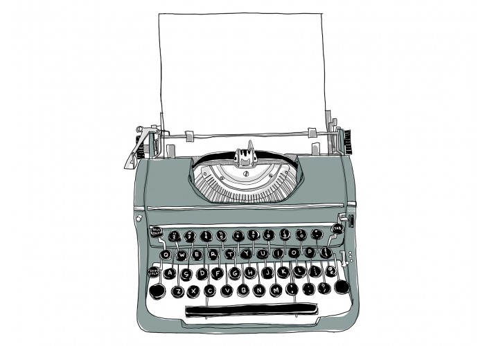 Old gray typewriter